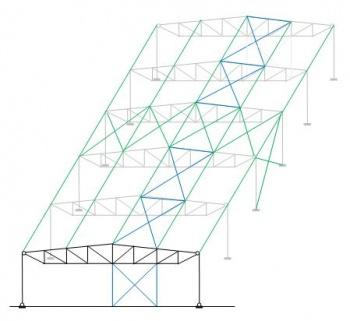 ساخت و ساز در هر دو جهت. پایداری جانبی تهیه شده توسط شیرآهن باد طولی و مهاربندهای عمودی در گابلها (آبی) پایداری طولی که توسط تردد باد عرضی و بندهای عمودی (سبز) تأمین می شود
