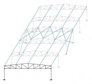 ثبات جانبی از خرپا های پرتال ارائه شده است. پایداری طولی که توسط تردد باد عرضی و برشهای عمودی (آبی) تأمین می شود هیچ جرثقیل بادی طولی نیست.