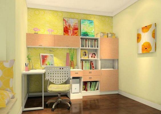 اتاق مطالعه و میز مطالعه زرد